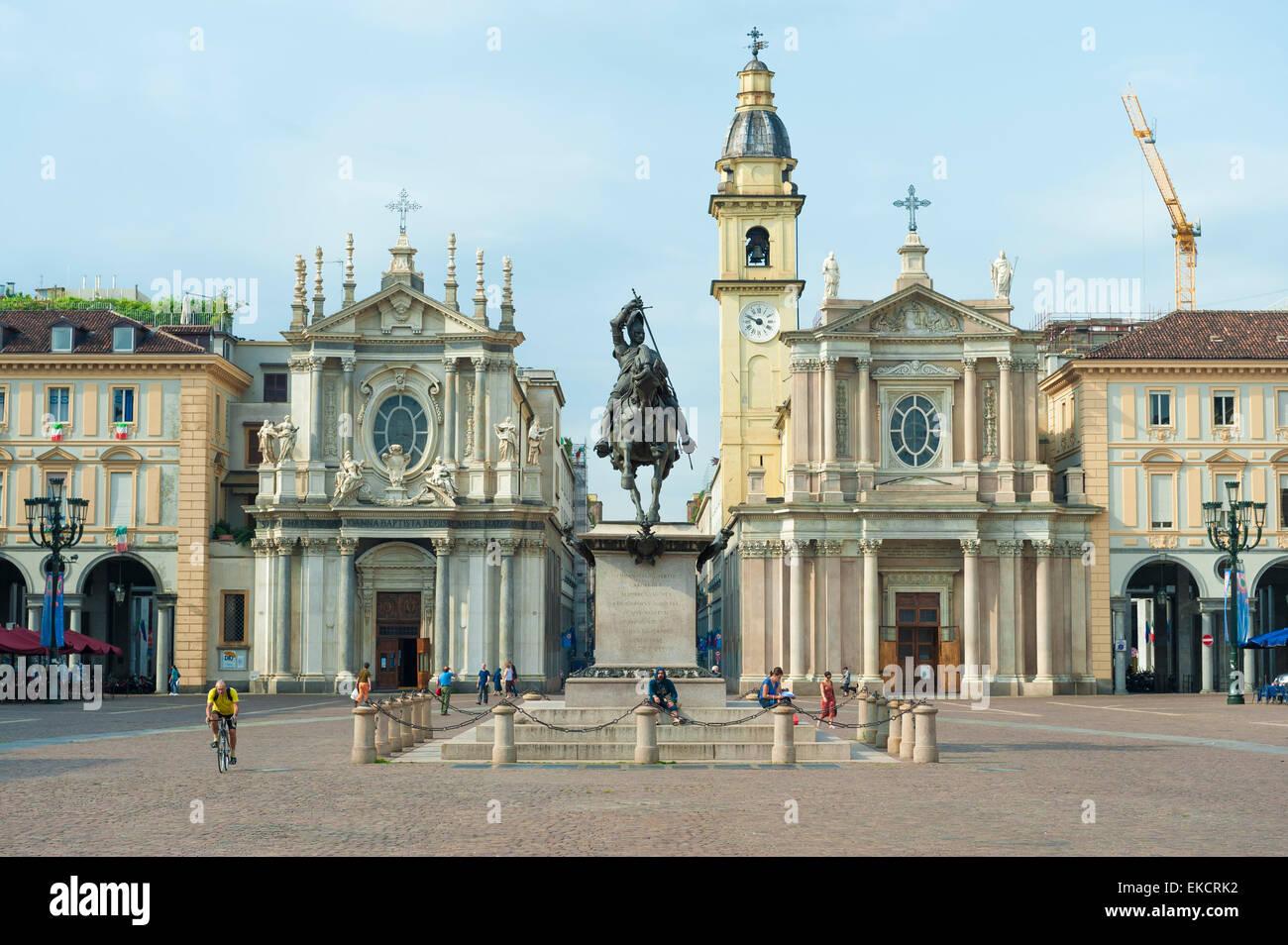 Turin Piazza San Carlo, view of the Piazza San Carlo in the center of Turin including the San Carlo Borromeo and - Stock Image