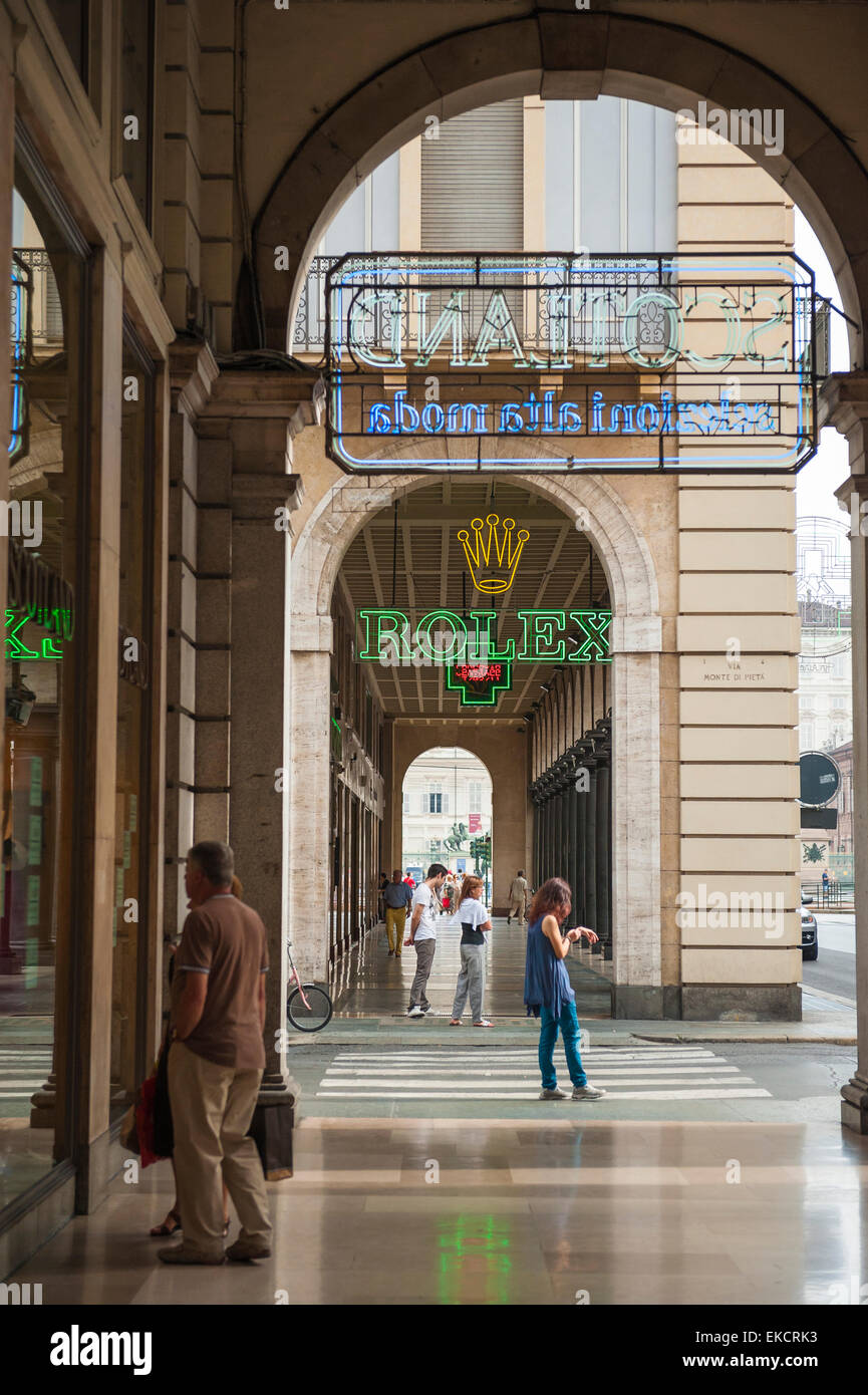 Turin arcade shopping, view of  a portico in the Piazza San Carlo, Turin, Italy - Stock Image