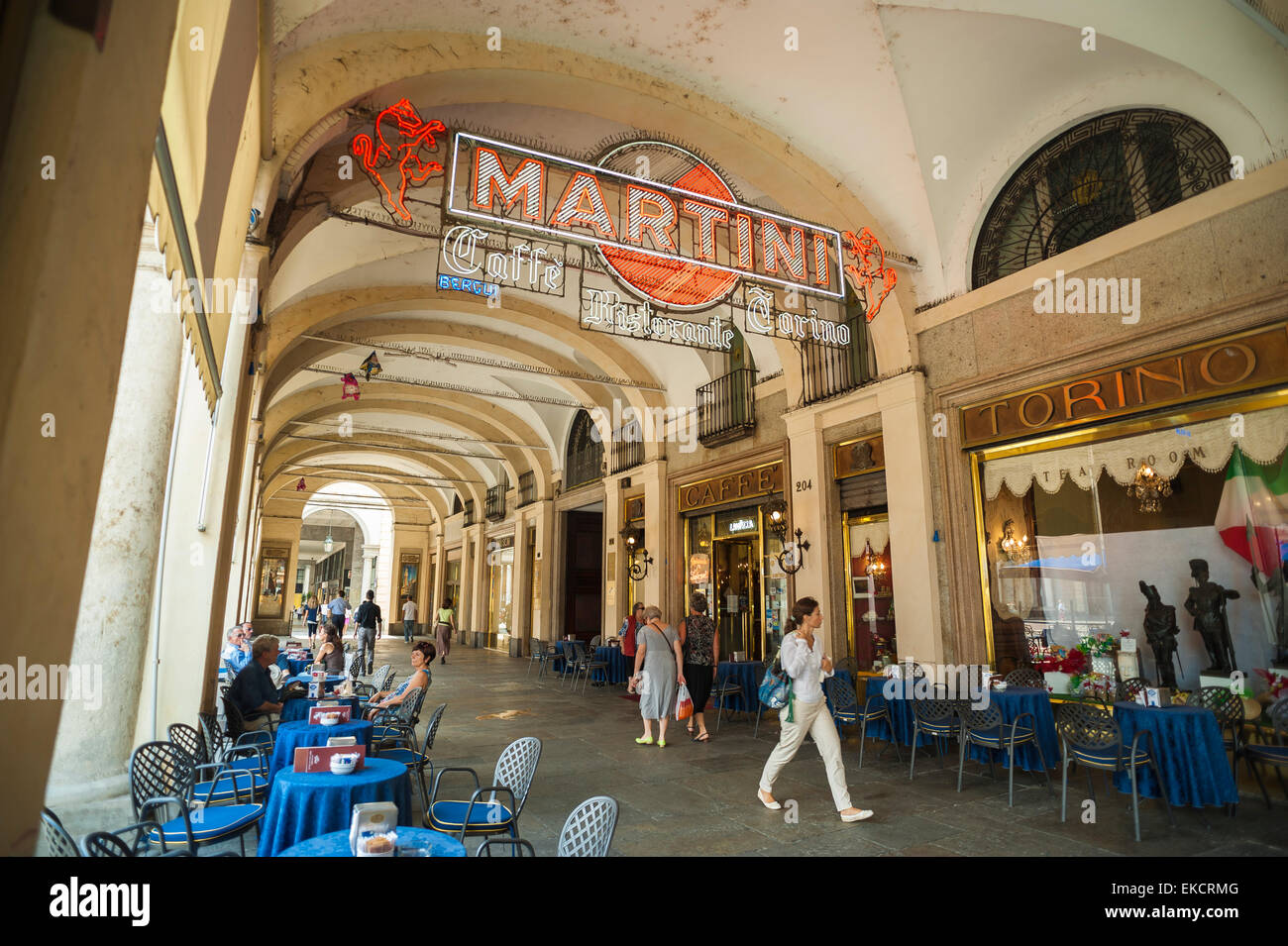 Turin cafe, view of an arcade in the Piazza San Carlo showing the famous Caffe Torino, Turin ,Italy - Stock Image