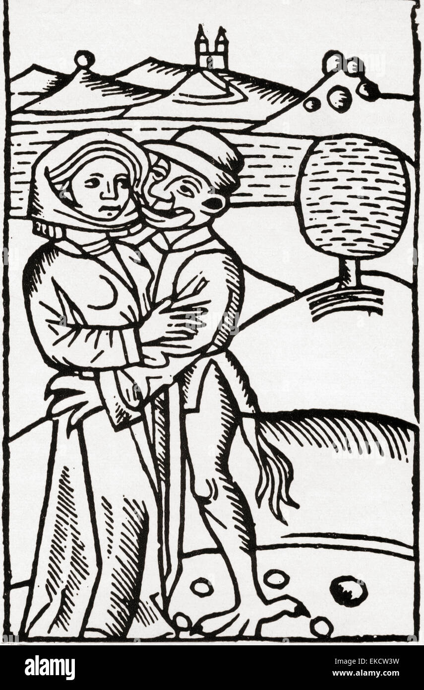 A devil seduces a witch, after an illustration in Ulrich Molitor's 15th century De Lamiis. - Stock Image