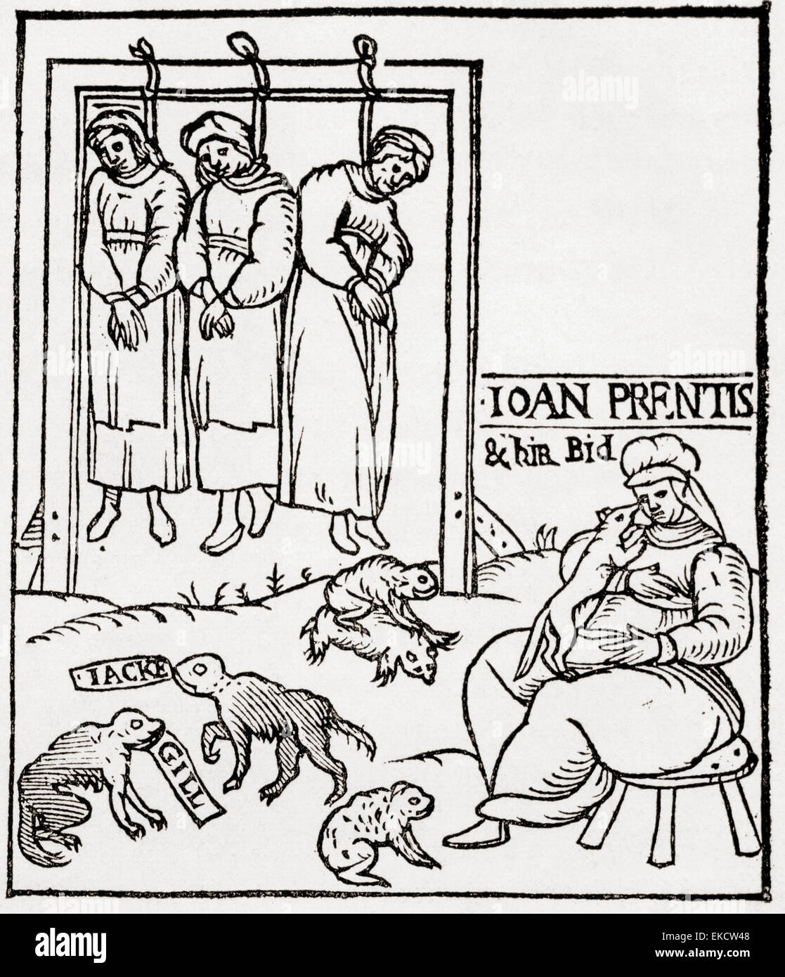 Three witches hanging.  After the title page of a contemporary pamphlet on the third Chelmsford witch trial of 1589. - Stock Image