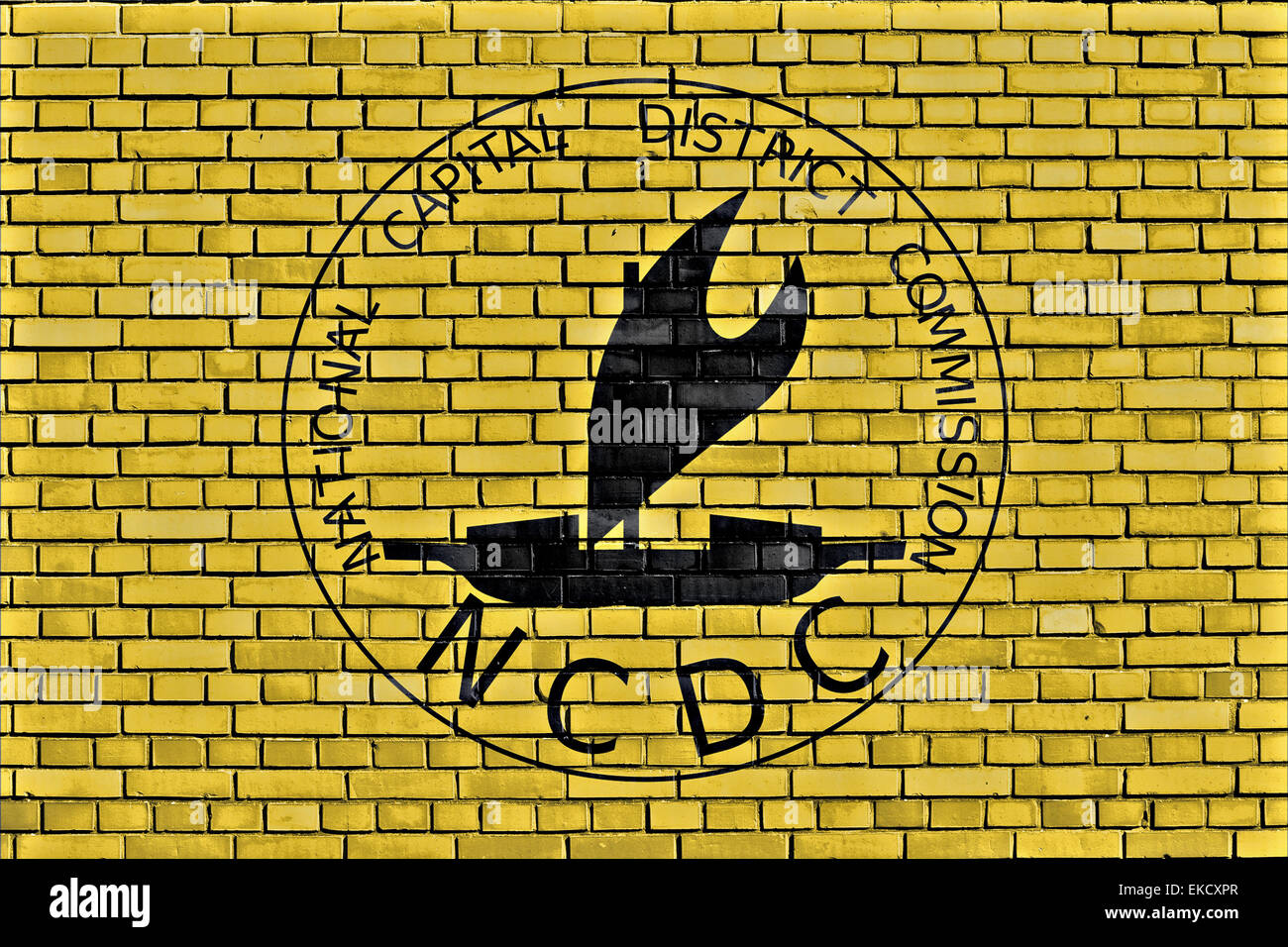 flag of Port Moresby painted on brick wall - Stock Image
