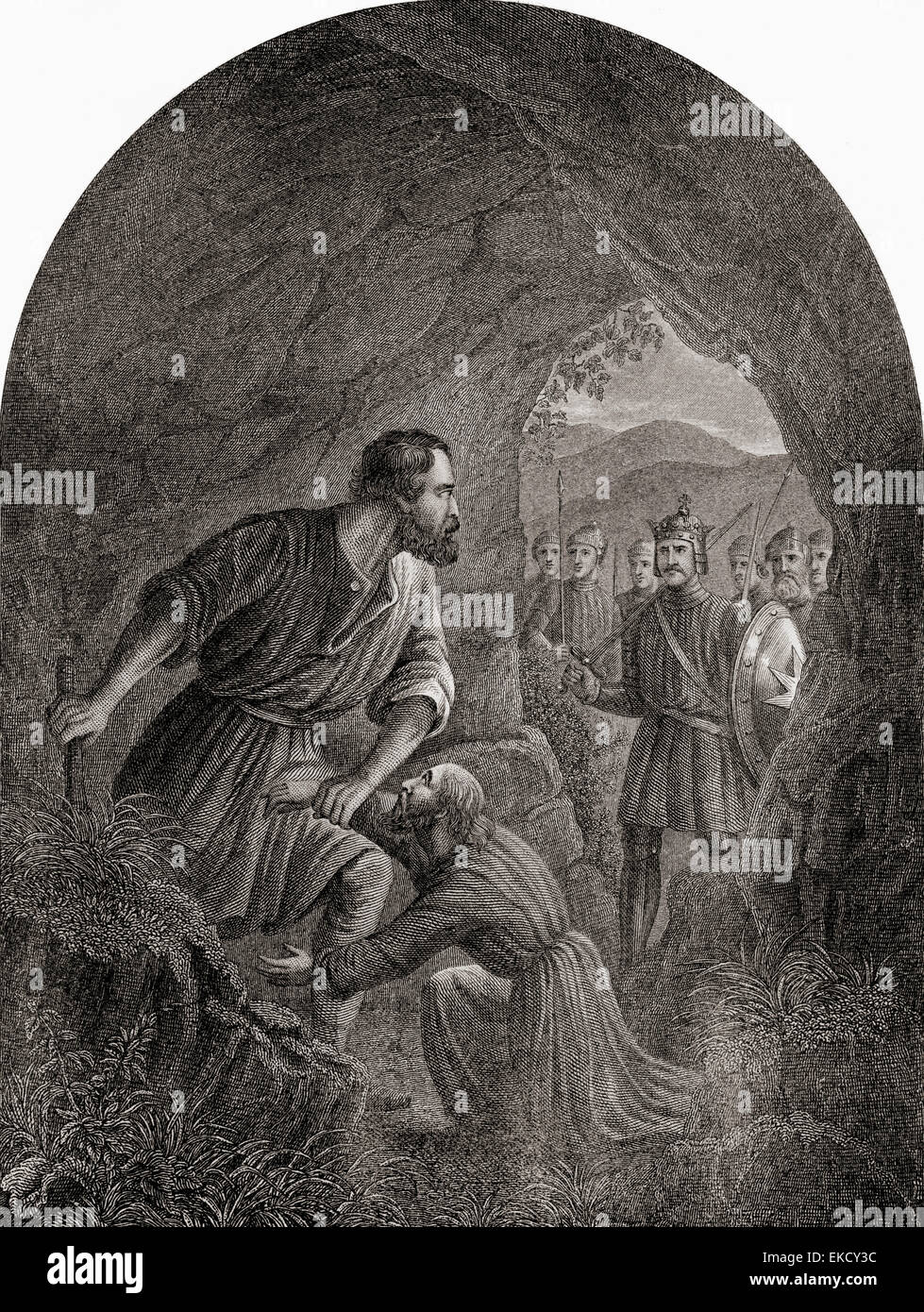 Giant Grim and Feeble-Mind.  From The Pilgrim's Progress by John Bunyan. - Stock Image