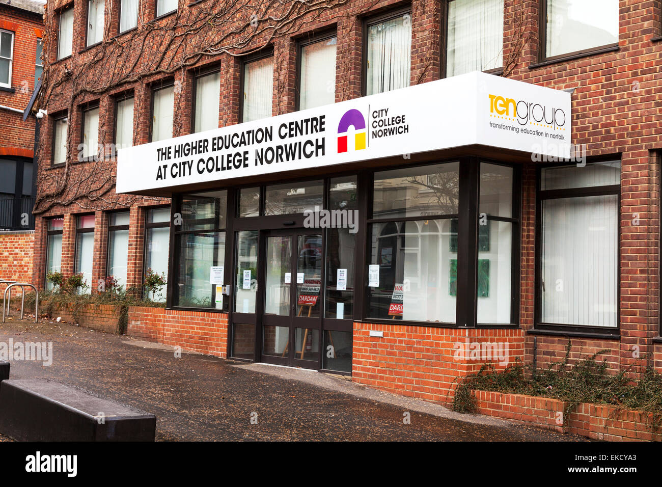 The higher education centre at city college Norwich Norfolk building front entrance sign facade UK England center - Stock Image