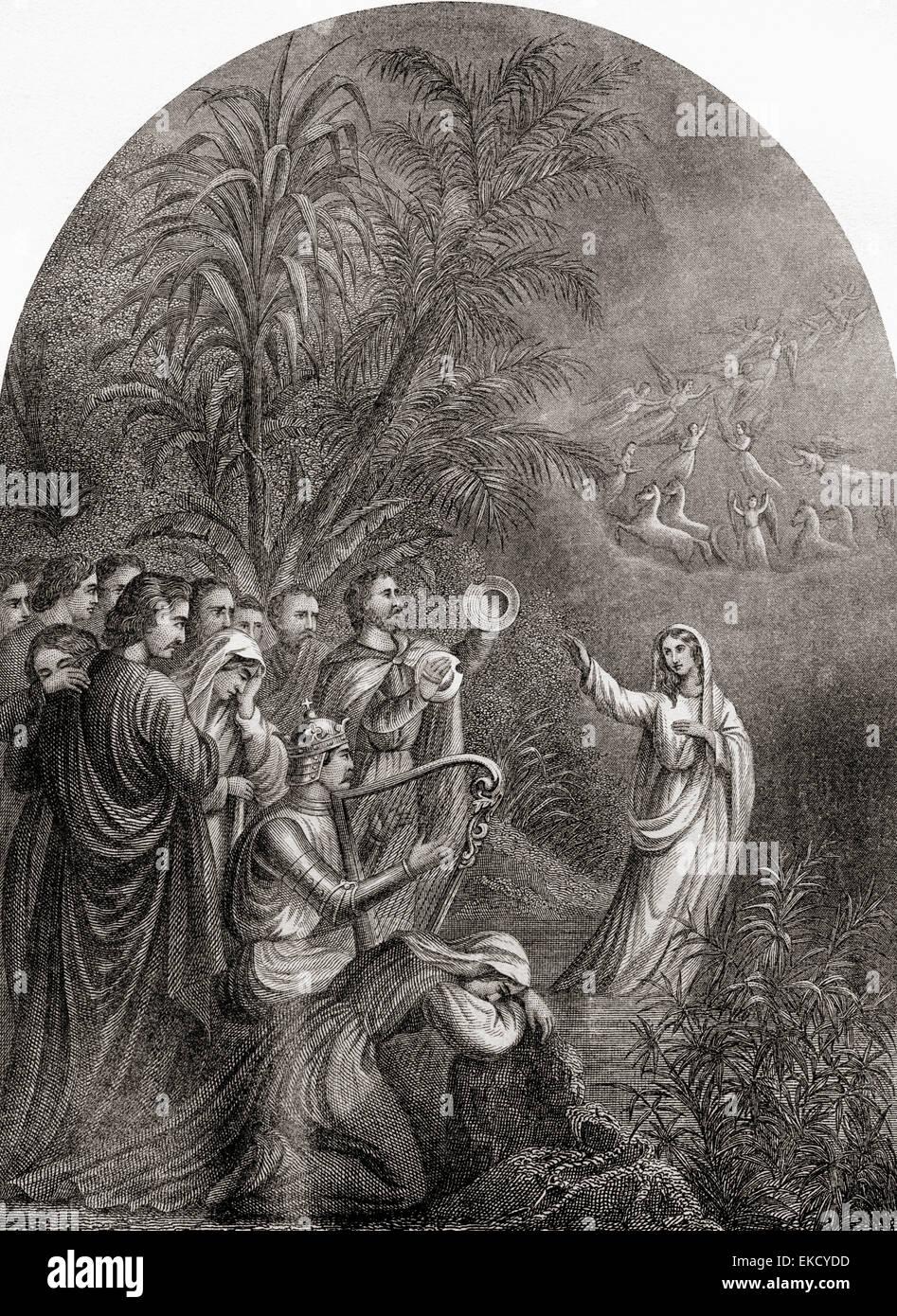 Christiana's Farewell.  From The Pilgrim's Progress by John Bunyan. - Stock Image