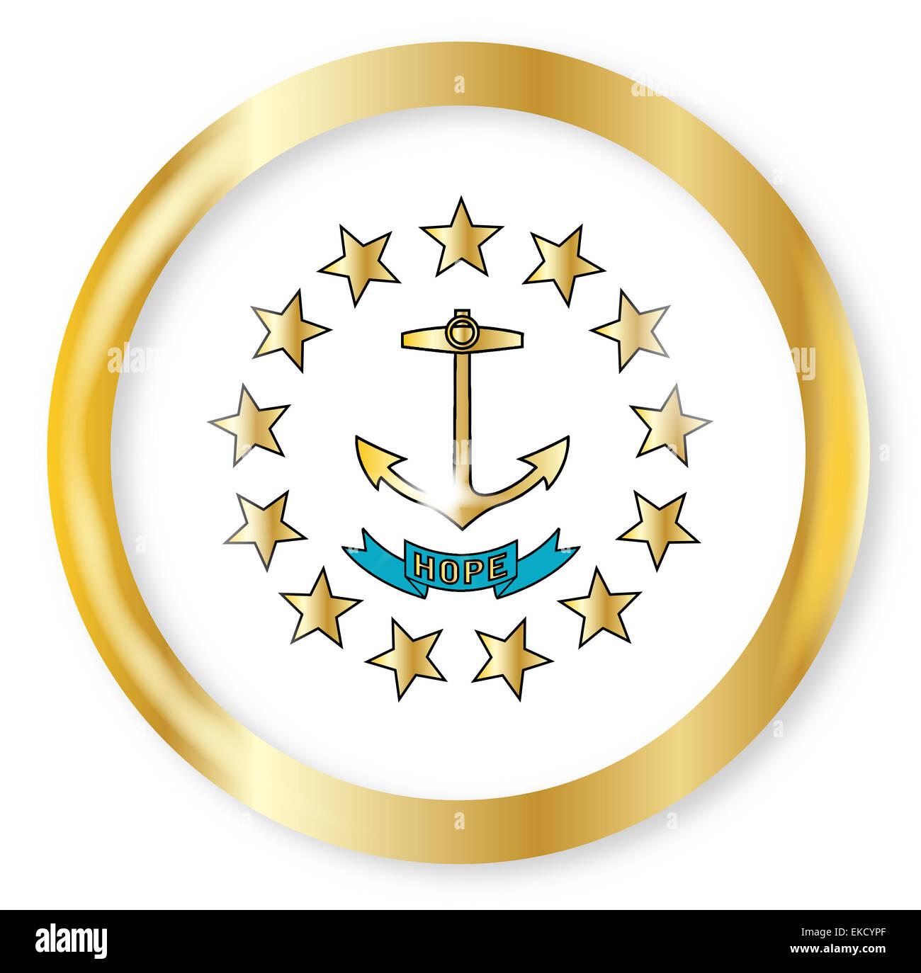 Rhode Island State Flag Button With A Gold Metal Circular Border