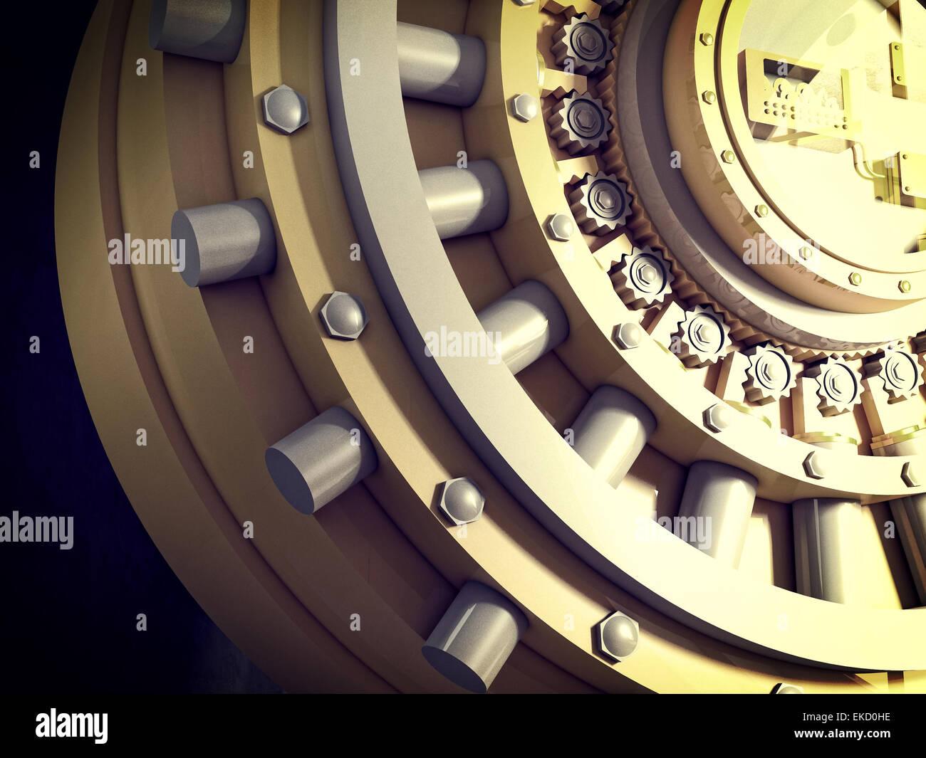 3d image of classic vault door - Stock Image