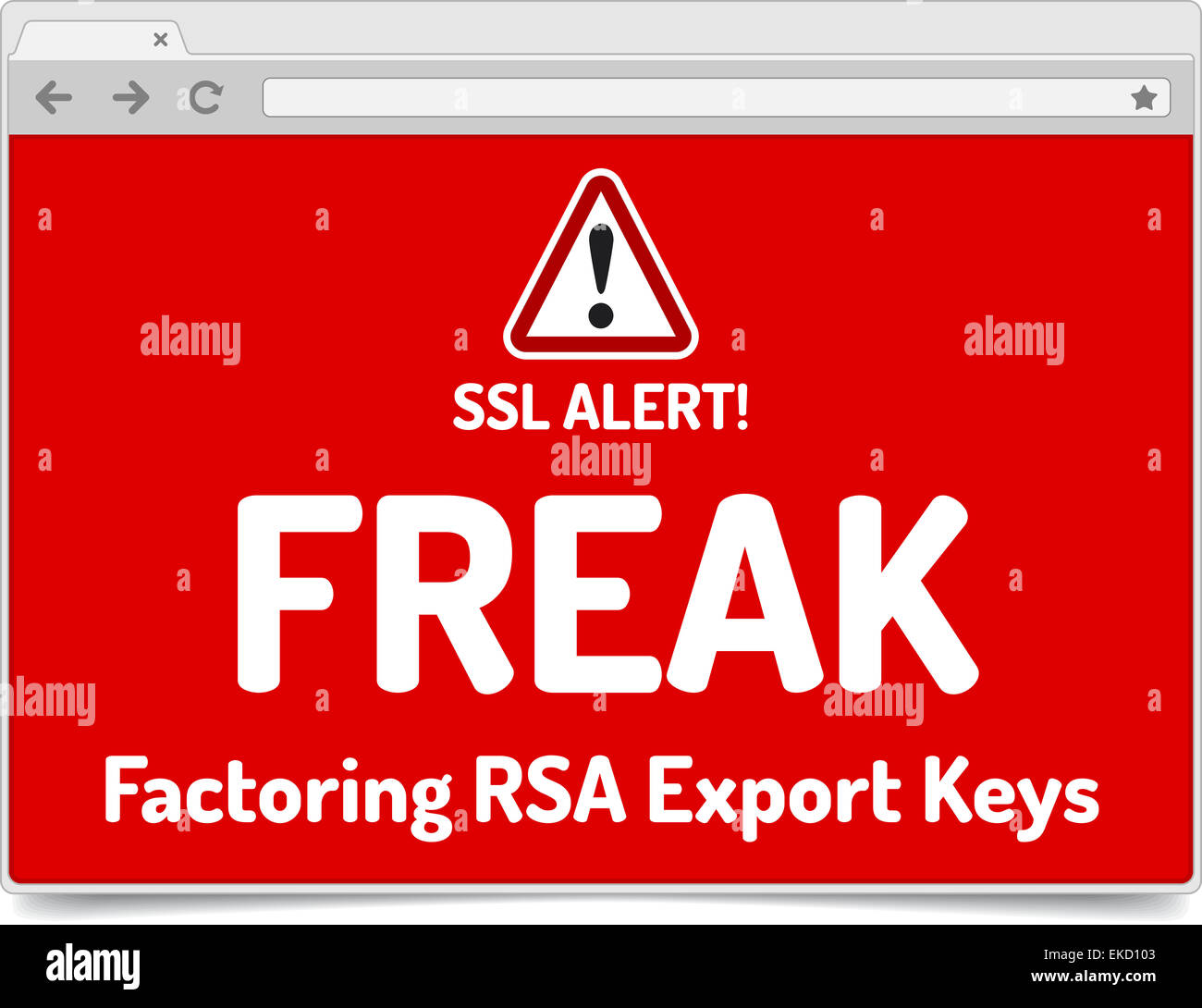 FREAK - Factoring RSA Export Keys Security - Warning in simple opened browser with shadow on white background - Stock Image