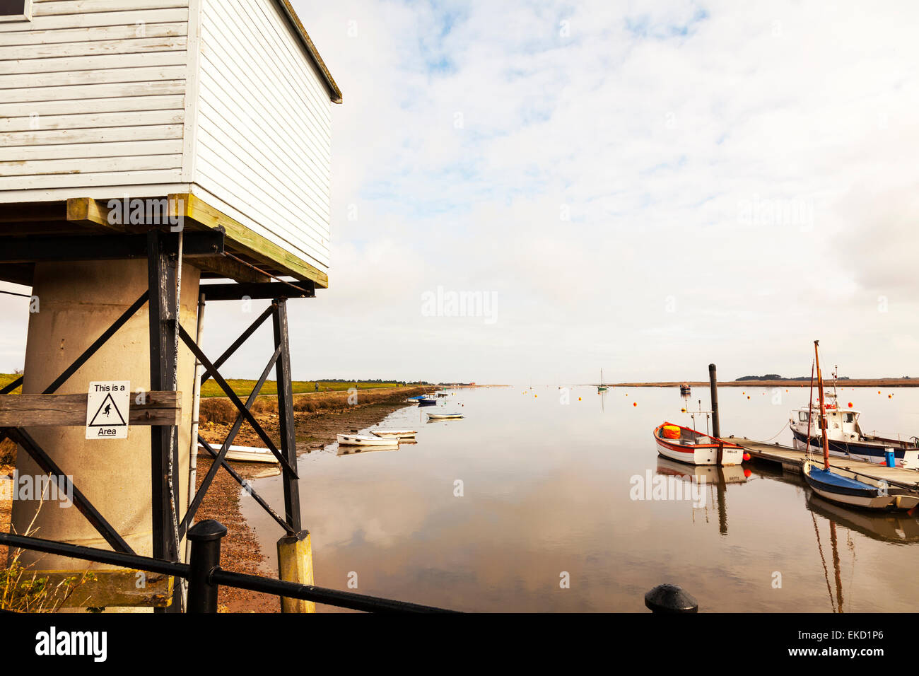 Wells next the sea tide recorded station North Norfolk UK England harbour channel and the salt marshes - Stock Image