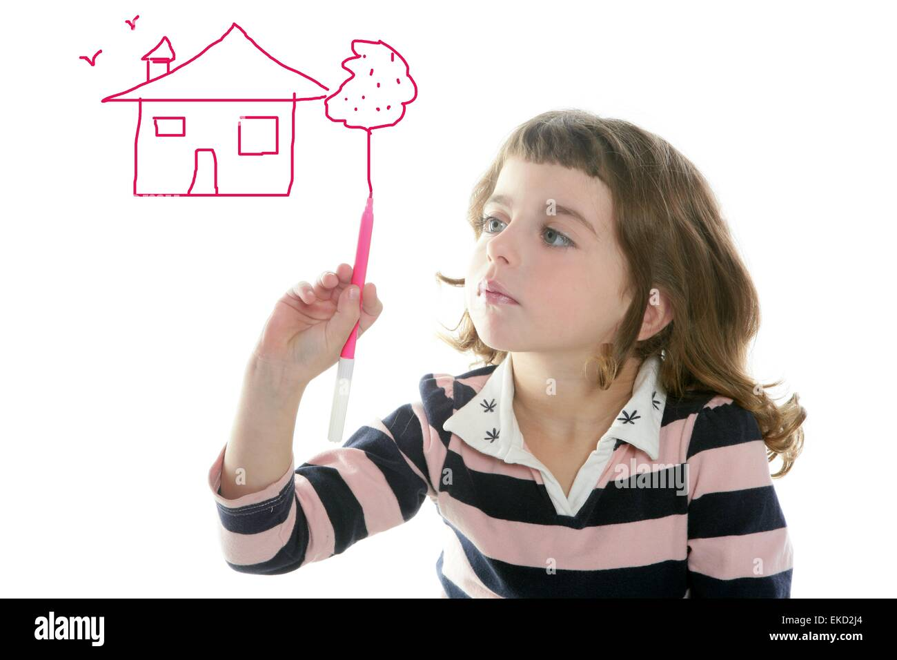 little girl drawing real state house stock photo 80807388 alamy