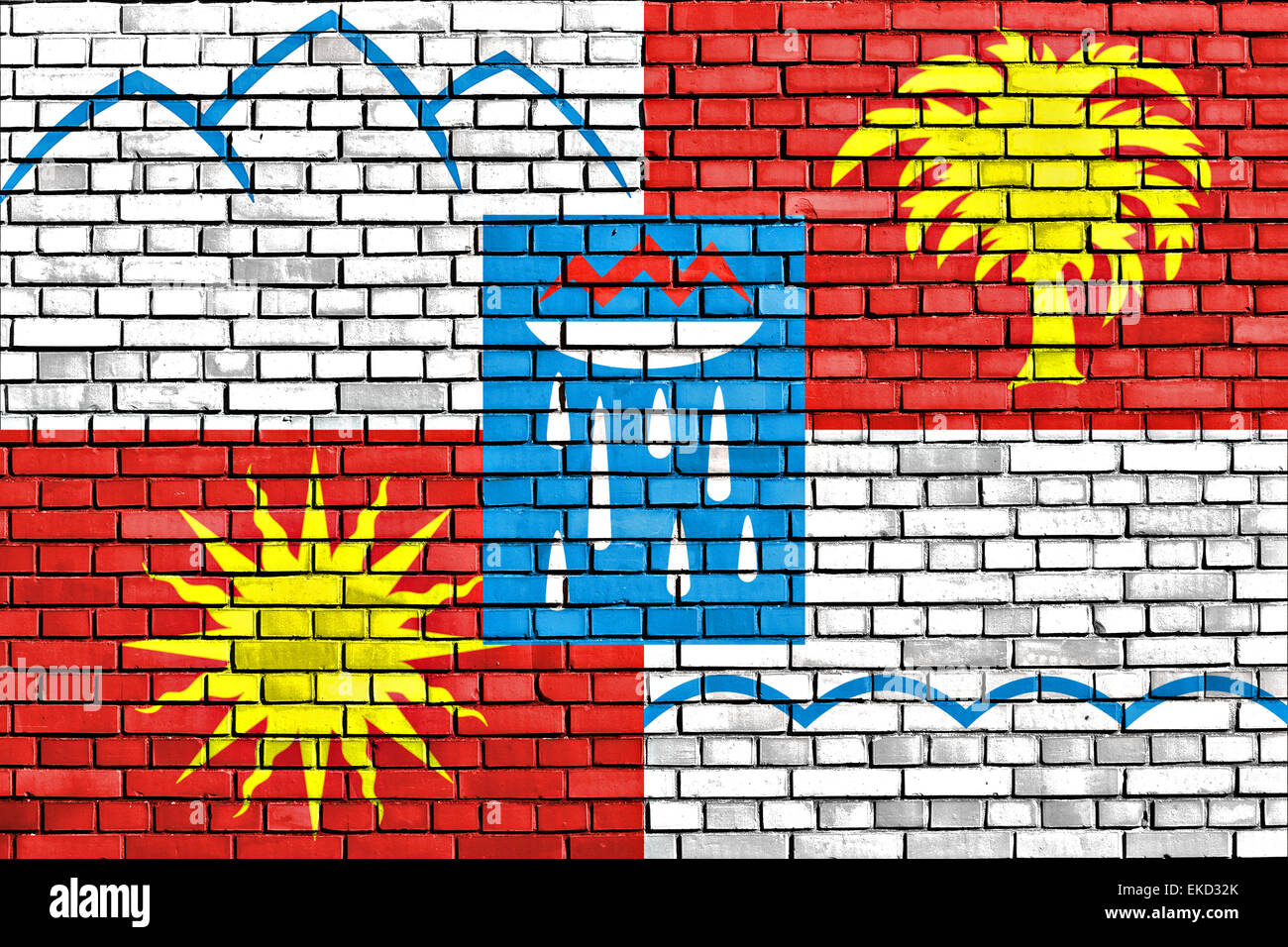 flag of Sochi painted on brick wall - Stock Image