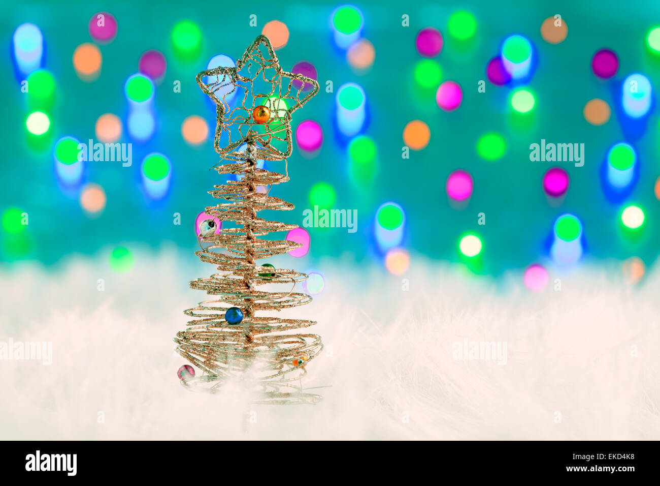 christmas wire tree on white fur and lights Stock Photo: 80808988 ...
