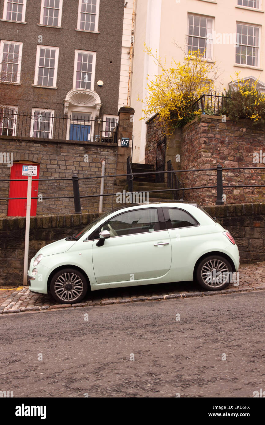 Fiat 500 car vehicle parked on St Michaels Hill in Bristol UK - Stock Image