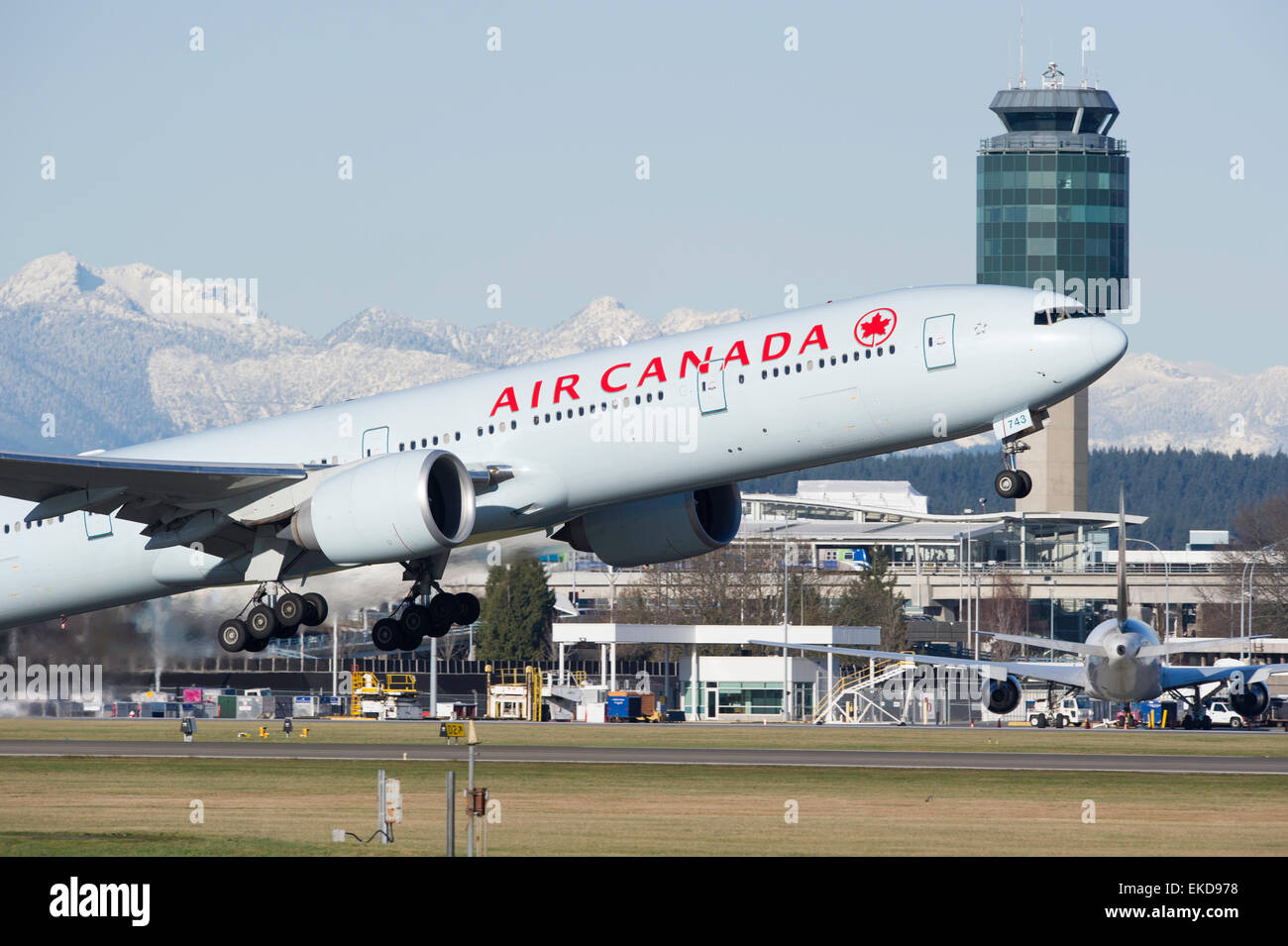 Air Canada Boeing 777-333 ER on takeoff at YVR Vancouver International Airport - Stock Image
