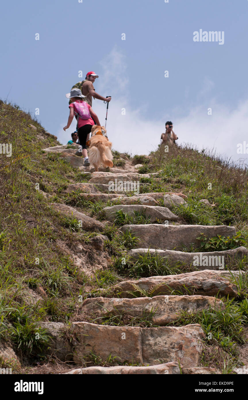 Stone steps are the only access to the top of Sunset Peak, Lantau Island, Hong Kong - Stock Image