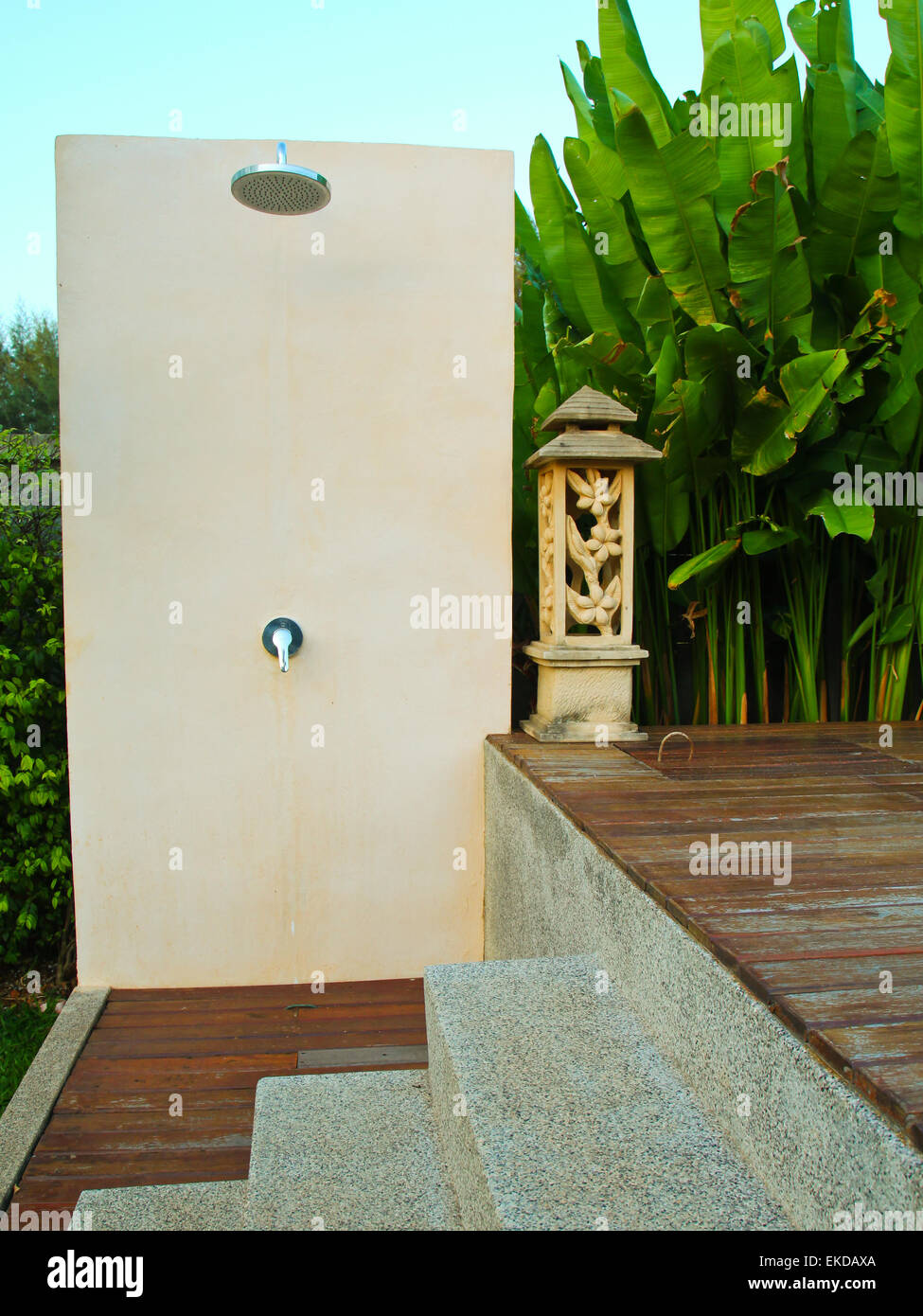 outdoor shower near swimming pool in tropical resort Stock Photo ...