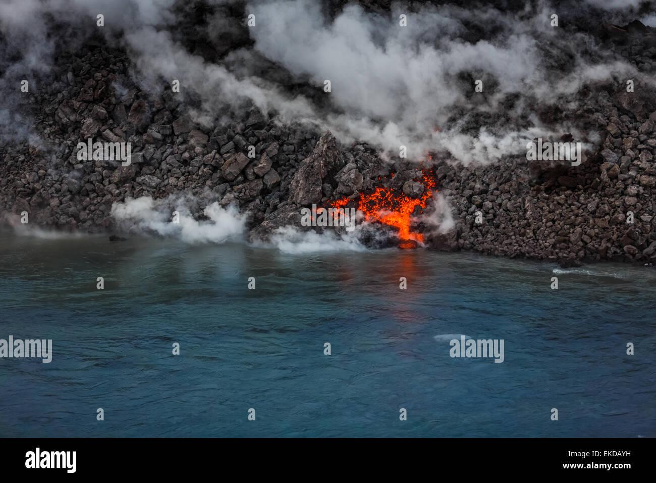 Volcano Eruption at the Holuhraun Fissure near the Bardarbunga Volcano, Iceland. - Stock Image