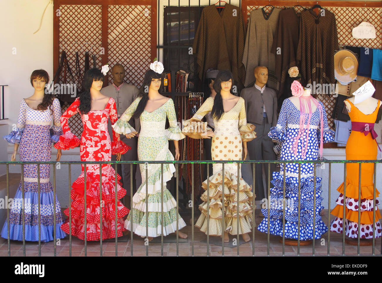 Flamenco shop in El Rocio, Huelva. Andalusia, Spain. - Stock Image