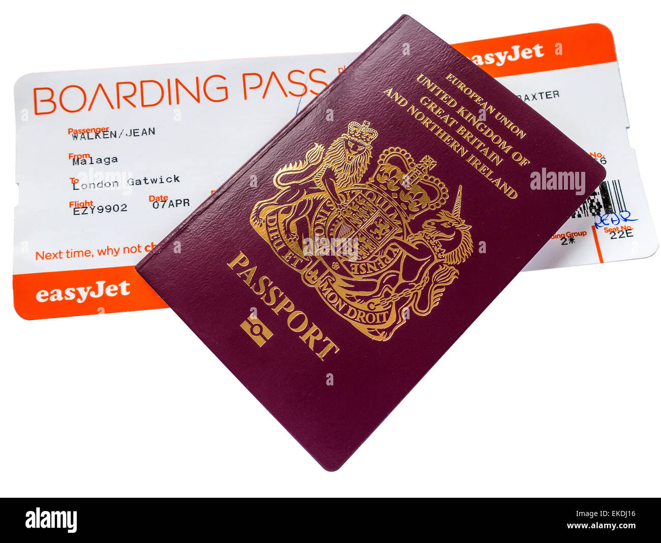 Easyjet Boarding Pass British European Union EU Passport - Stock Image