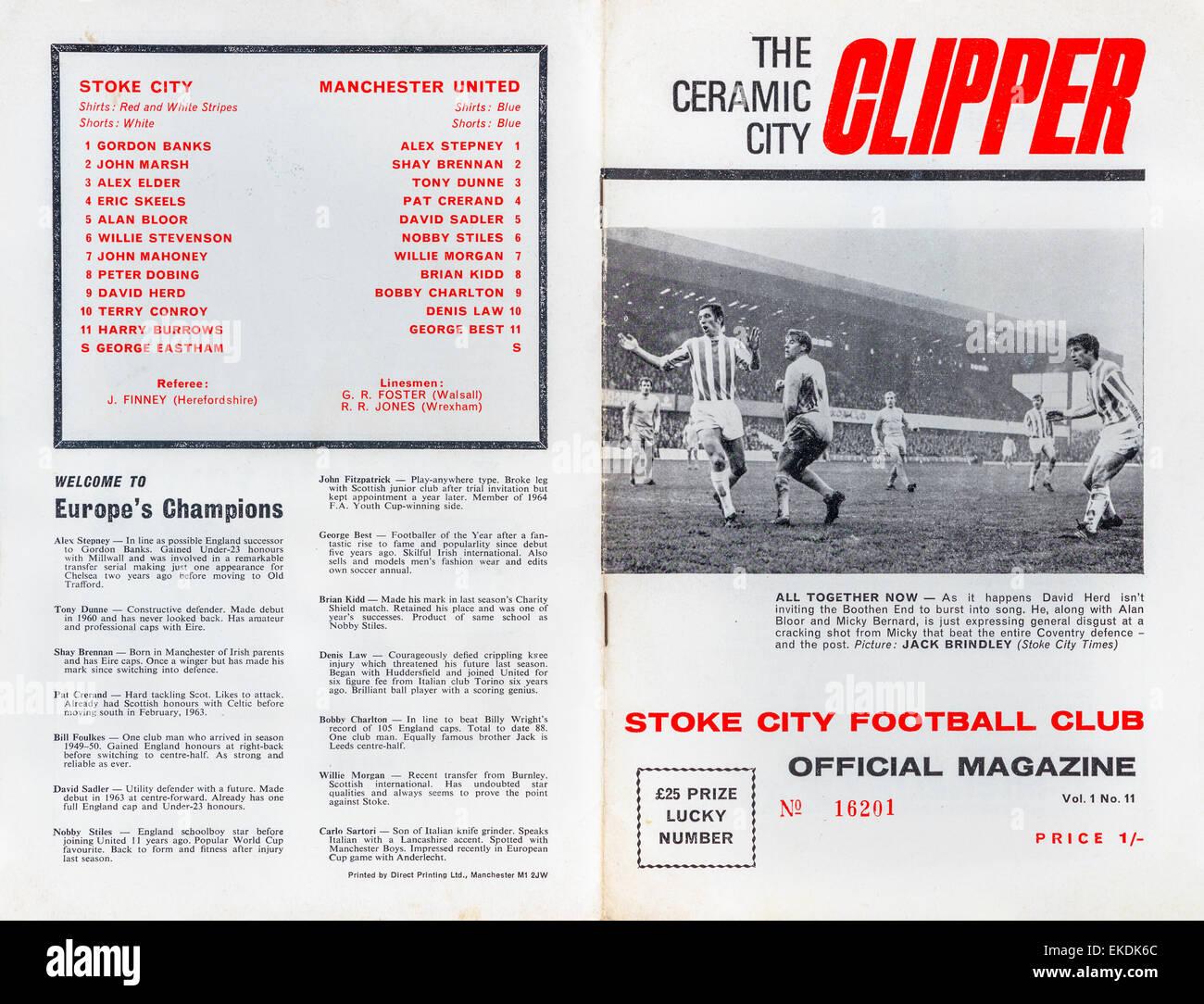 Stoke City V Manchester United 0-0 23rd November 1968 - Stock Image