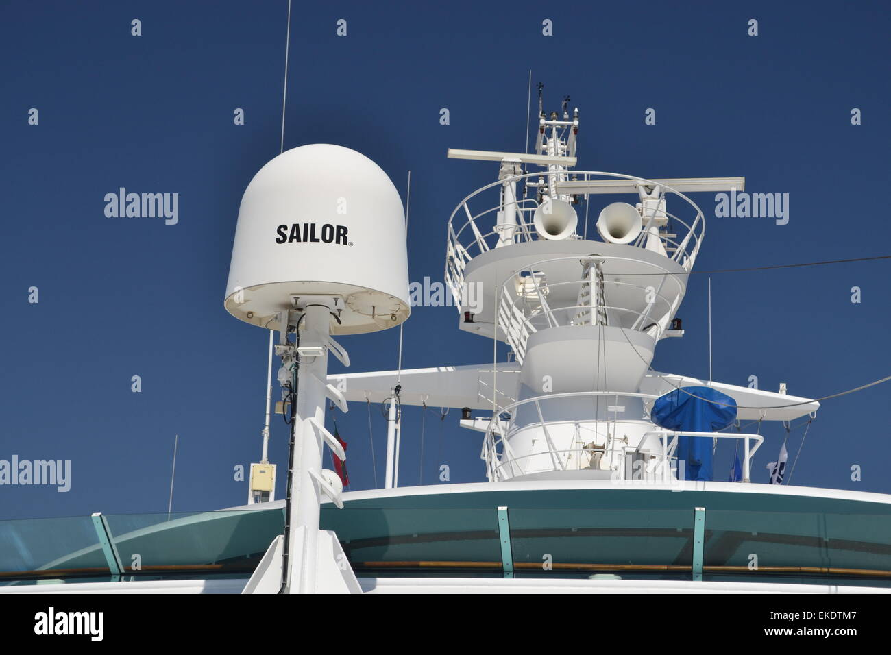 Cobham Sailor Ku-band satellite TV antenna on board a ship. - Stock Image