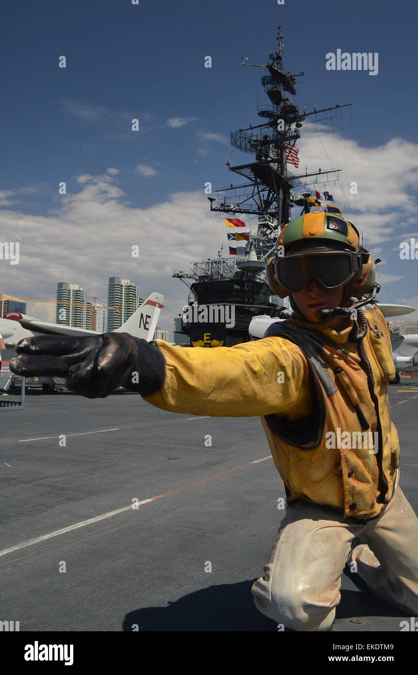 Manikin catapult officer, USS Midway aircraft carrier museum, San Diego, California, USA - Stock Image