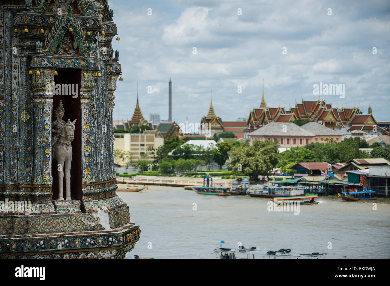 A view from the Wat Arun(temple of dawn) in the distance the Wat Pho. Bangkok Thailand. Stock Photo
