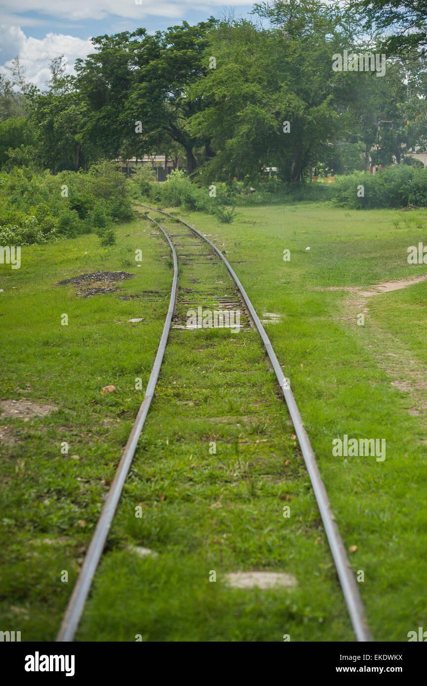 The Burma Railway, also known as the Death Railway, Kanchanaburi Thailand - Stock Image
