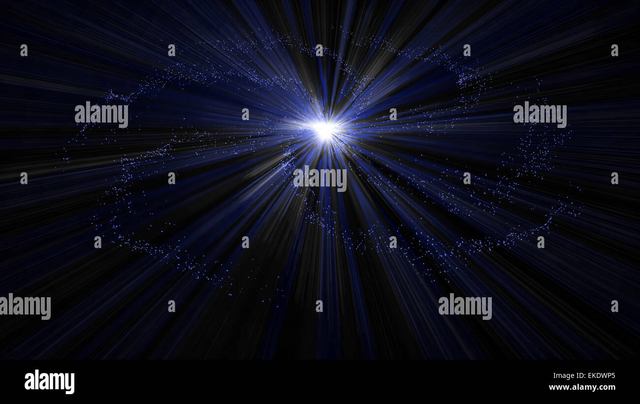 Blue space of glowing stars of the galaxy - Stock Image