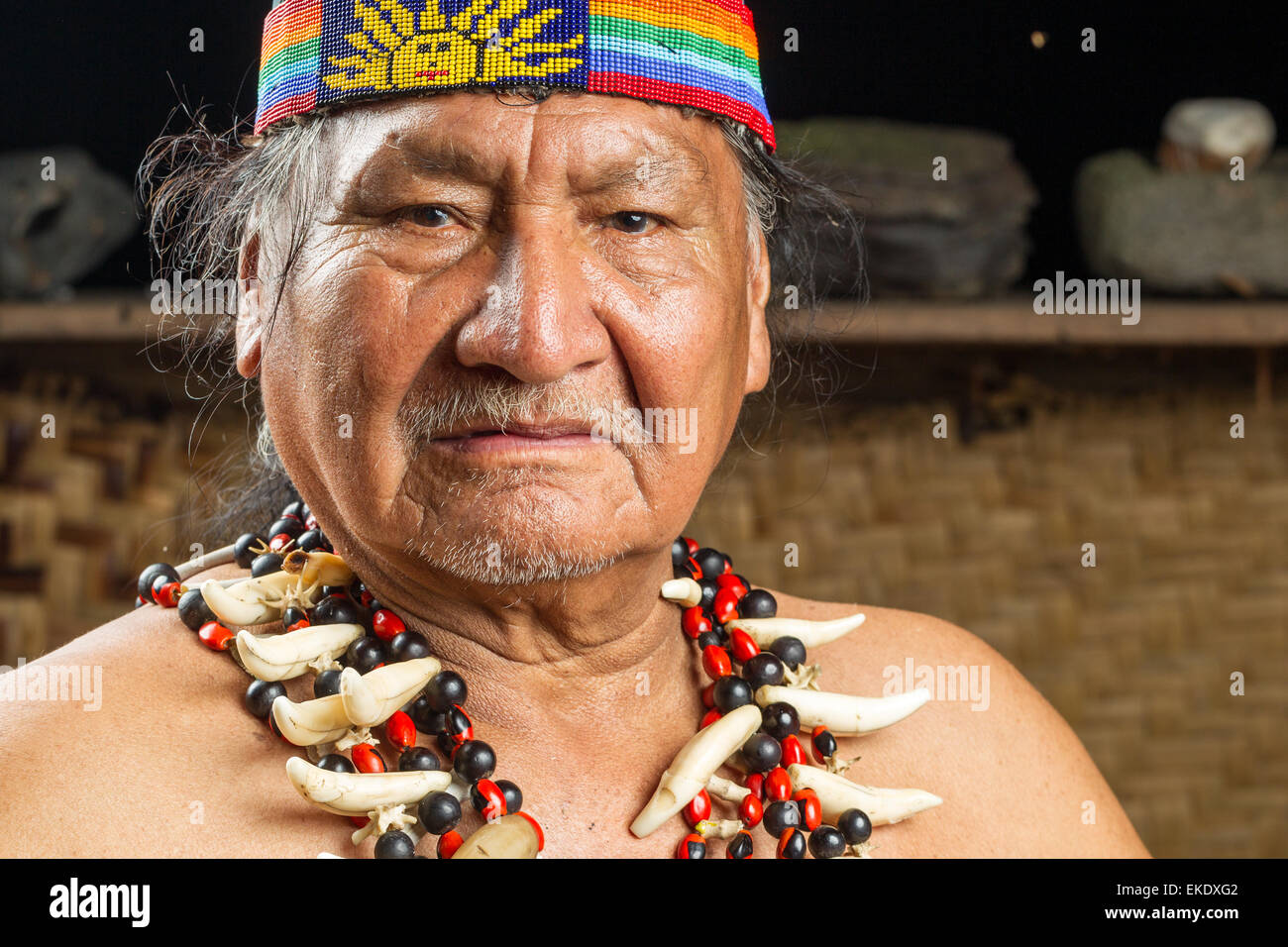 Shaman In Ecuadorian Amazonia During A Real Ayahuasca Ceremony Model Released Images As Seen In April 2015 - Stock Image