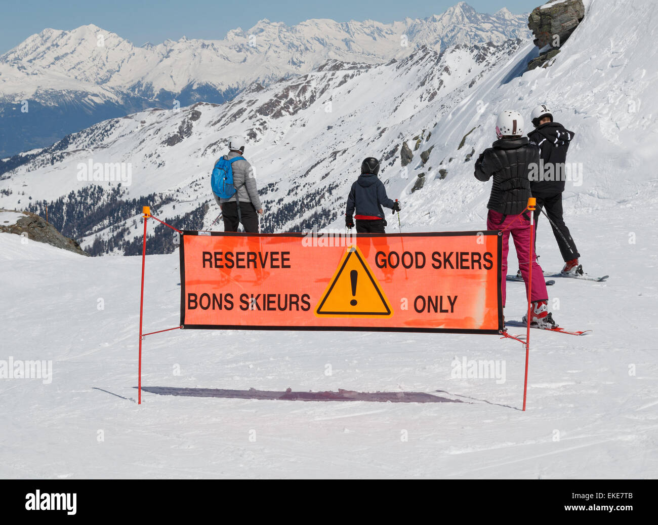 Ski piste sign saying the slope is for good skiers only - Stock Image