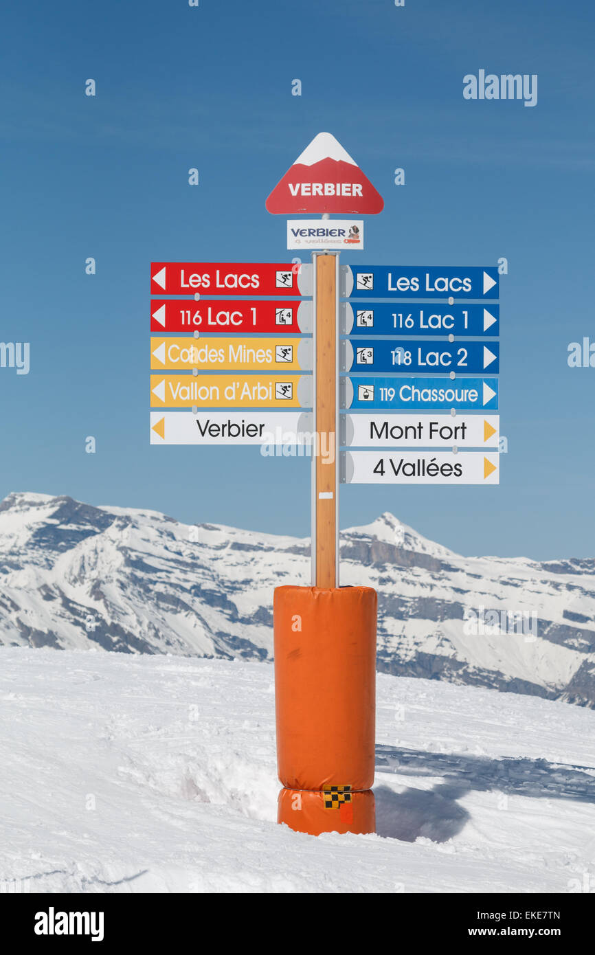 Piste direction sign in the ski resort of Verbier in the Valais, Switzerland.  The sign shows ski runs around 'Les - Stock Image