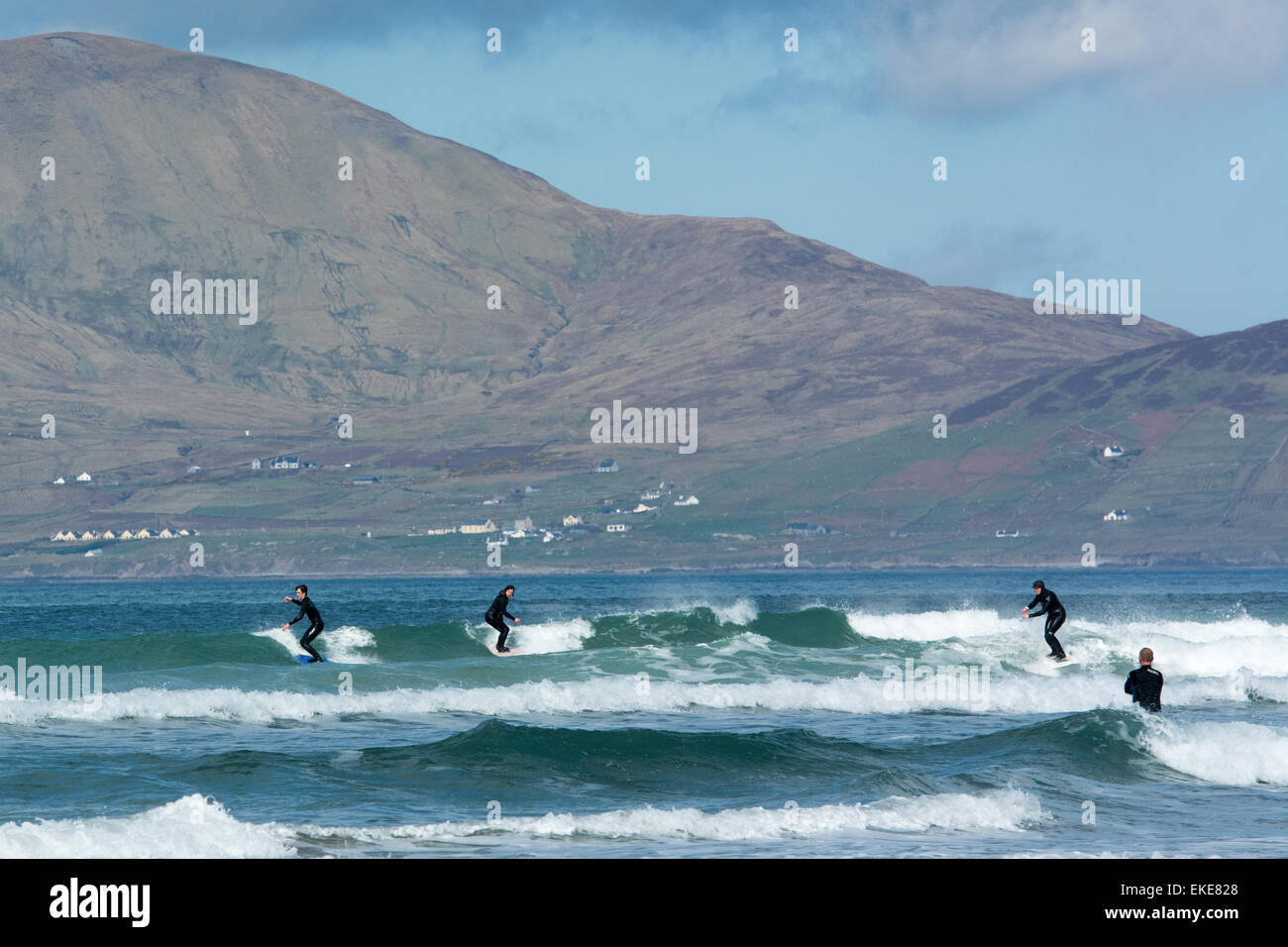 Surfing along the Wild Atlantic Way on the West Coast of Ireland - Stock Image
