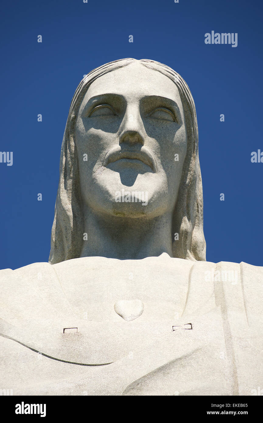 RIO DE JANEIRO, BRAZIL - MARCH 05, 2015: The face of the statue of Christ the Redeemer, one of Rio's most recognizable - Stock Image