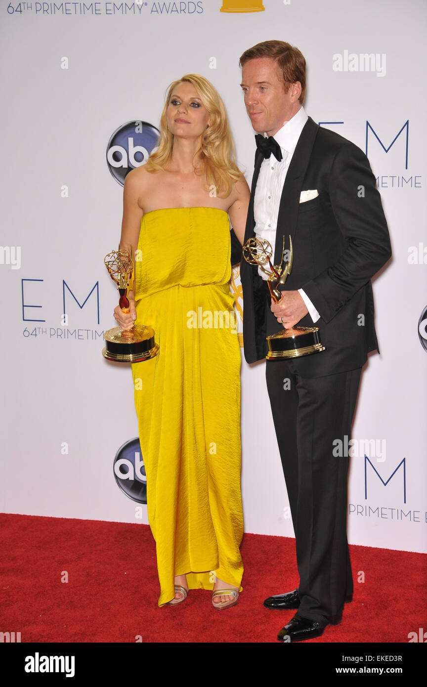 LOS ANGELES, CA - SEPTEMBER 23, 2012: Homeland stars Claire Danes & Damian Lewis at the 64th Primetime Emmy - Stock Image