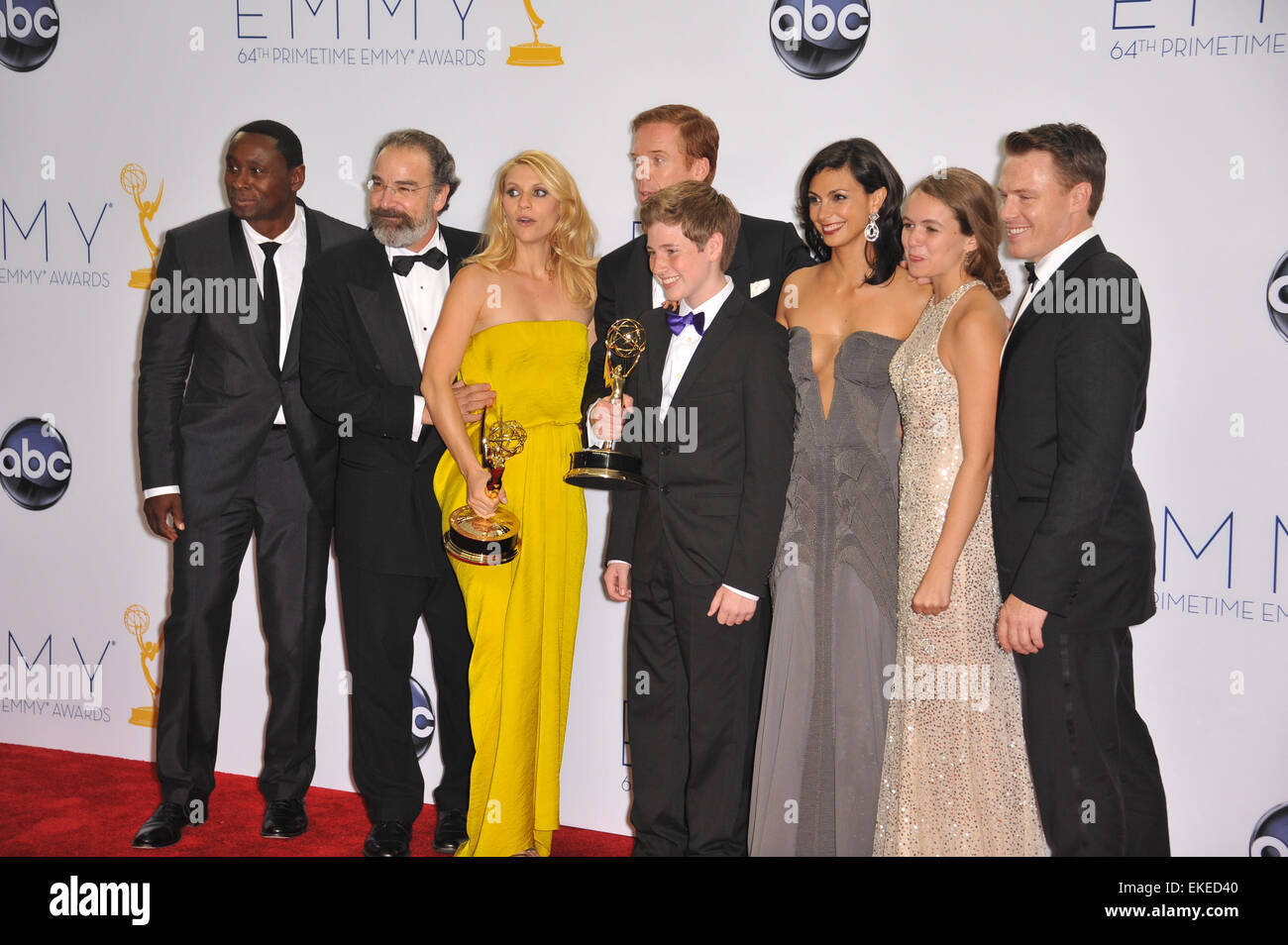 LOS ANGELES, CA - SEPTEMBER 23, 2012: Claire Danes & Damian Lewis & stars of Homeland at the 64th Primetime - Stock Image