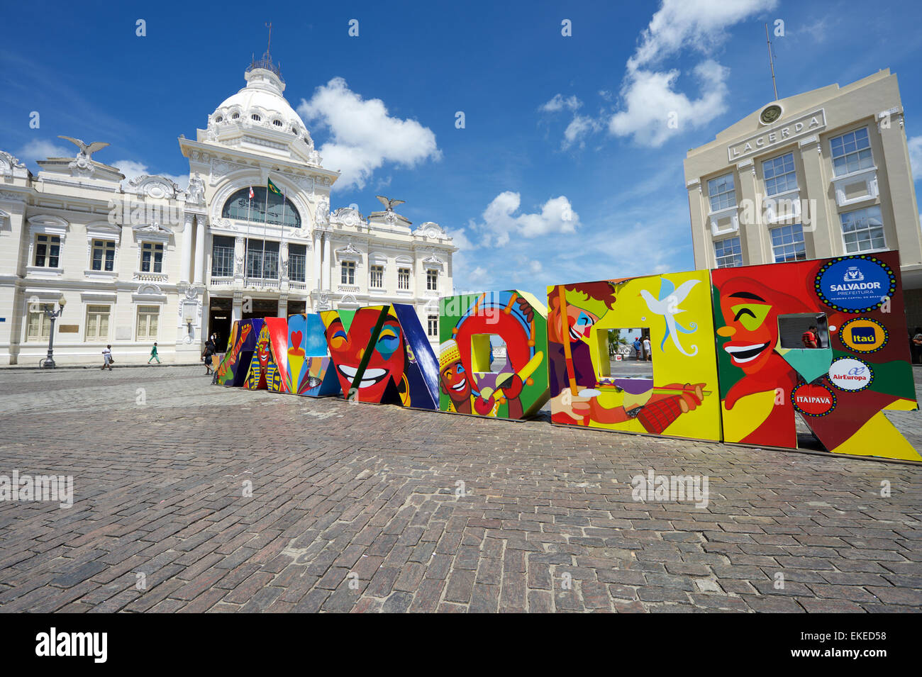SALVADOR, BRAZIL - MARCH 11, 2015: Colorful signage spelling out Salvador in block letters decorates the Tome de - Stock Image