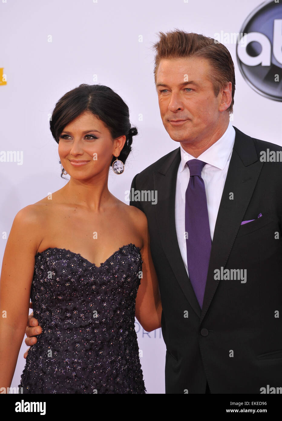 LOS ANGELES, CA - SEPTEMBER 23, 2012: Alec Baldwin & wife Hilaria Thomas at the 64th Primetime Emmy Awards at the Stock Photo