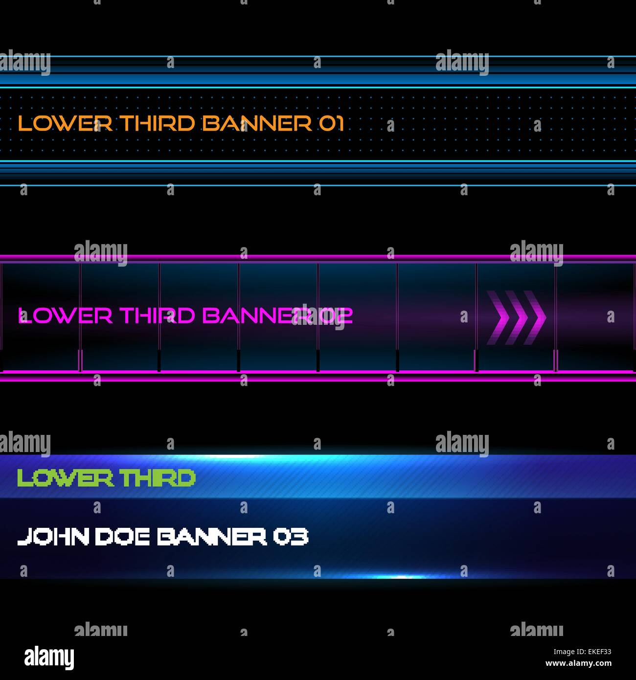 Set of vector lower third modern contemporary tv bottom banners - Stock Image