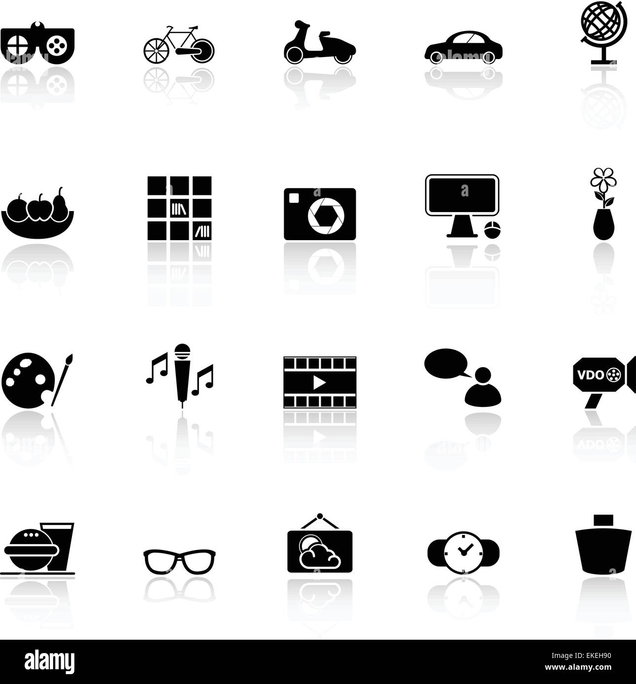 Favorite and like icons with reflect on white background, stock vector - Stock Image