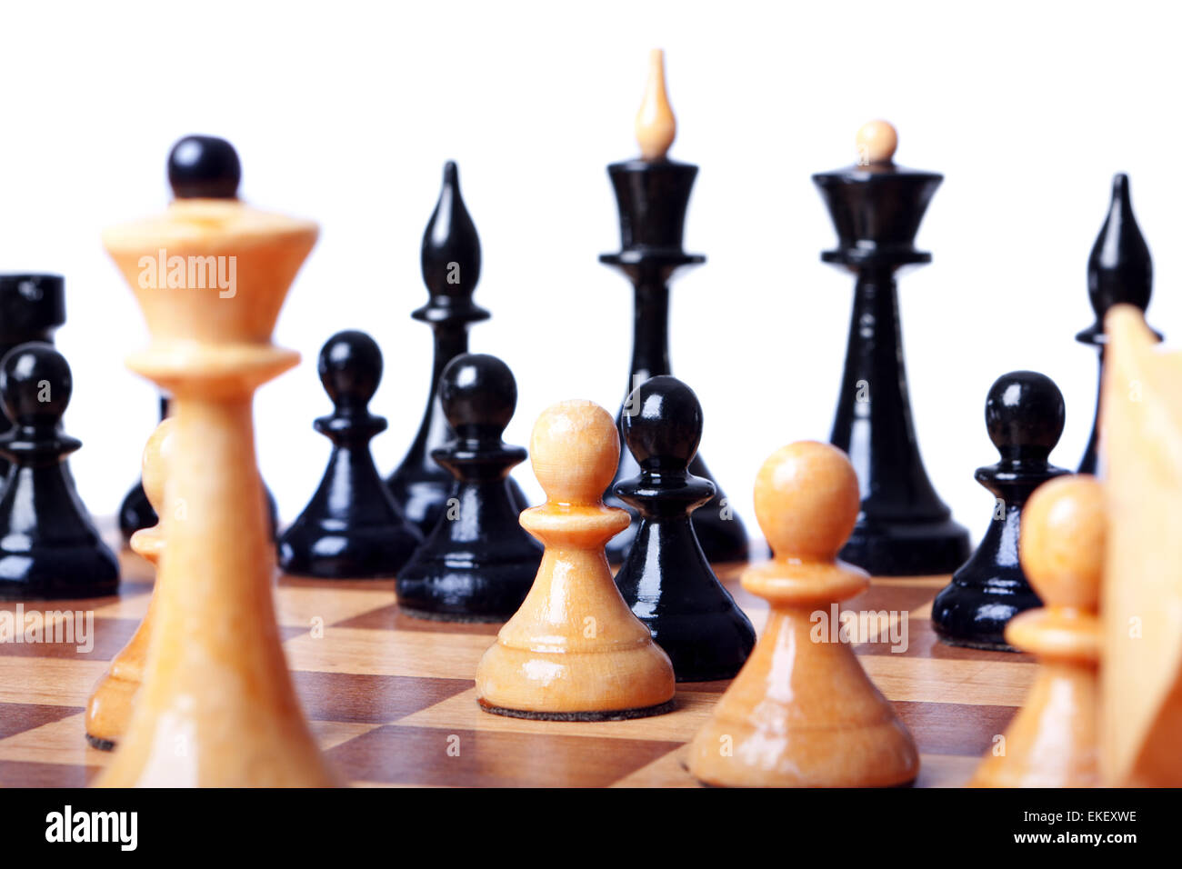 chess board focused closeup - Stock Image