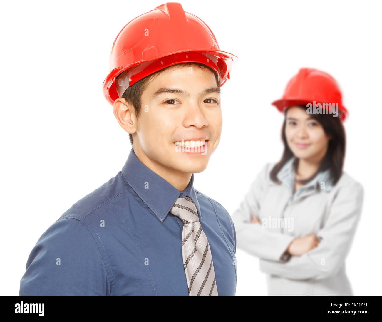 People Wearing Hardhats - Stock Image