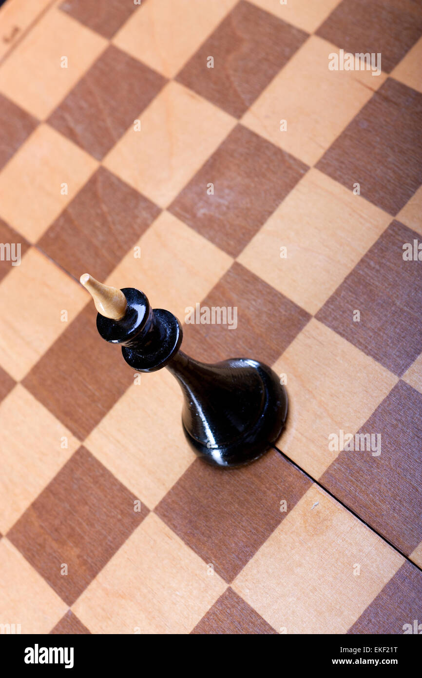 black chess queen on board - Stock Image