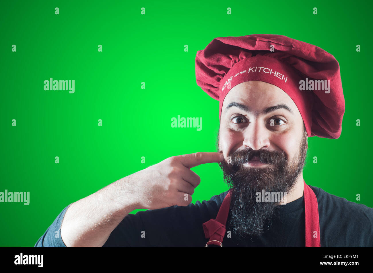 happy bearded chubby chef - Stock Image