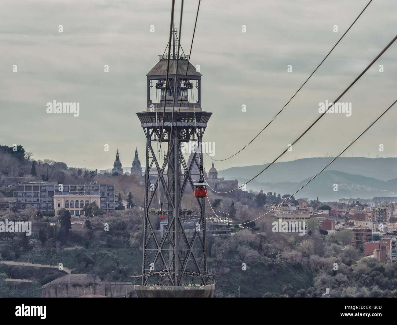 Torre Jaume I funicular with two cableway cars, Barcelona Spain - Stock Image