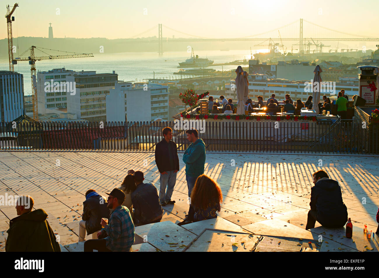Tourists having fun on the viewpoint of Lisbon. Portugal - Stock Image