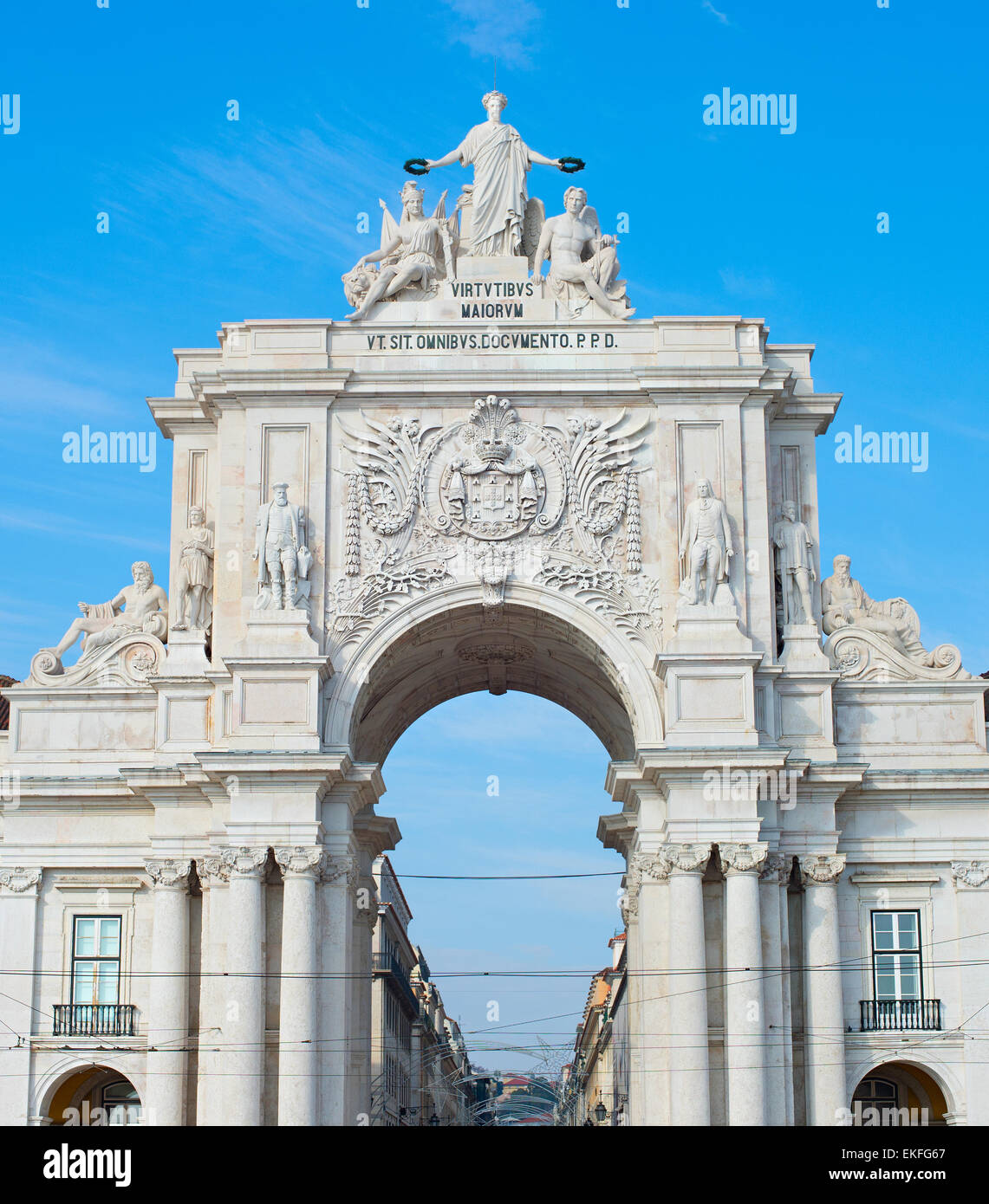 View of Rua Augusta Arch at sunset in Lisbon, Portugal - Stock Image