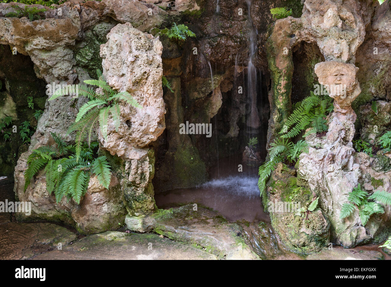 Dewstow Gardens and Grottoes, Caerwent, Wales, UK. A lost underground garden only rediscovered in 2000 - Stock Image