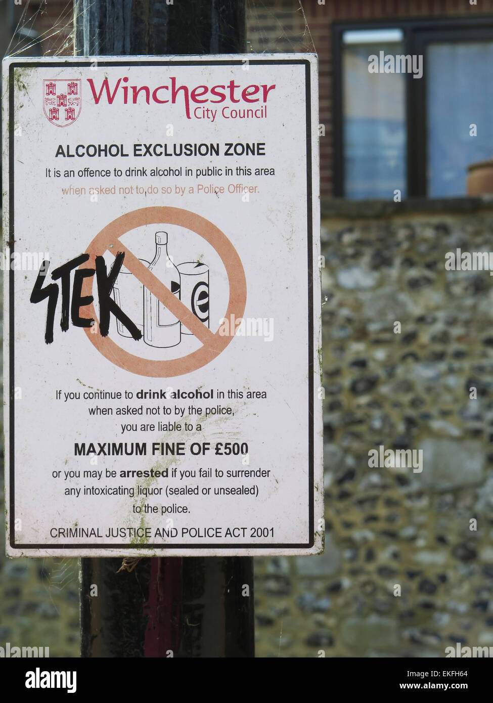 Winchester: alcohol exclusion zone - Stock Image