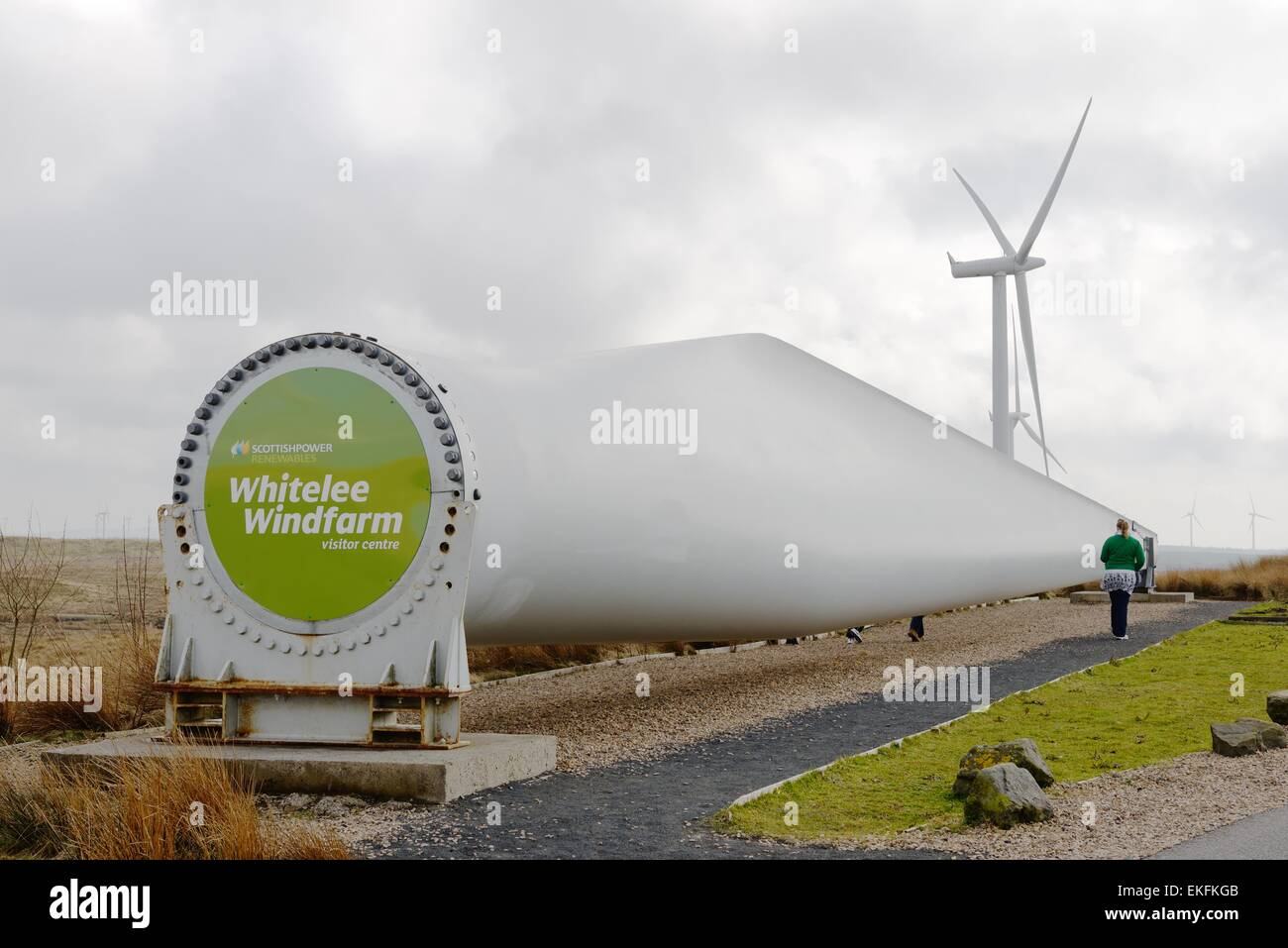 A single blade from a turbine at the Whitelee windfarm in Scotland, UK - Stock Image